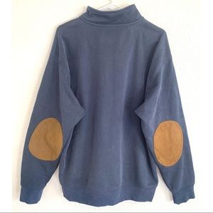 Orvis men's blue zip up sweater with leather XL
